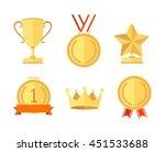 gold award set flat style.... | Shutterstock . vector #451533688
