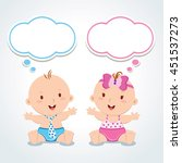 twins. babies with thinking... | Shutterstock .eps vector #451537273