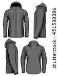men softshell jacket with hood...   Shutterstock .eps vector #451538386