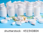 many pills and tablets isolated ... | Shutterstock . vector #451543804