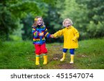 little boy and girl play in... | Shutterstock . vector #451547074