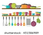 kitchen shelves and cooking... | Shutterstock .eps vector #451586989