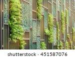 green wall with vertical demo...   Shutterstock . vector #451587076