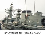 A Mast And Upper Deck Of Navy...