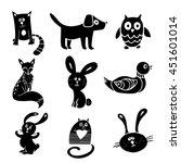 animals  birds. cat  dog  fox ... | Shutterstock .eps vector #451601014