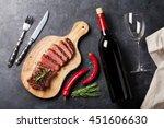 grilled striploin sliced steak... | Shutterstock . vector #451606630