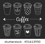 coffee to go vector set. cups... | Shutterstock .eps vector #451613950