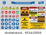 set of construction sign ... | Shutterstock .eps vector #451615054