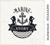 marine label with two mermaids... | Shutterstock .eps vector #451616344
