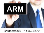 Small photo of ARM, adjustable rate mortgage, word on mobile phone screen in blurred young businessman hand over white background, business concept