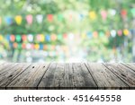 empty wooden table with party... | Shutterstock . vector #451645558