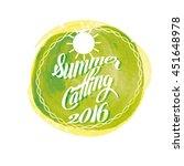 summer lettering on orange... | Shutterstock .eps vector #451648978