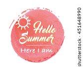 summer lettering on orange... | Shutterstock .eps vector #451648990