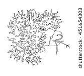 hand drawn lama. vector...   Shutterstock .eps vector #451654303
