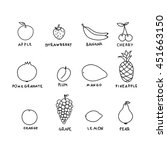 set graphic hand drawn fruits.... | Shutterstock .eps vector #451663150