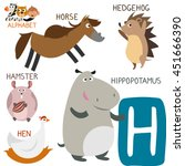 cute animal zoo alphabet.... | Shutterstock .eps vector #451666390
