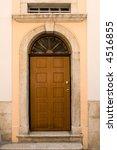 wood entrance door on greek... | Shutterstock . vector #4516855
