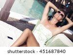 woman in summer dress relaxing