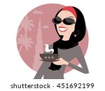 arab muslim woman having... | Shutterstock .eps vector #451692199