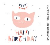 "funny ""happy birthday"" card... | Shutterstock .eps vector #451693744"