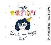 happy birthday typographic... | Shutterstock .eps vector #451693954