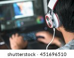 video editing  computer laptops ... | Shutterstock . vector #451696510