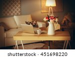 beautiful roses bouquet on table | Shutterstock . vector #451698220