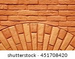 antique painted red brick wall... | Shutterstock . vector #451708420