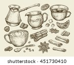 hand drawn coffee cup  creamer  ... | Shutterstock .eps vector #451730410