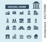 houses  home icons | Shutterstock .eps vector #451735480