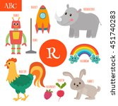 letter r. cartoon alphabet for... | Shutterstock .eps vector #451740283