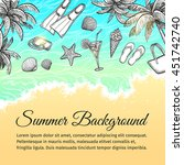 summer sea background. vintage... | Shutterstock .eps vector #451742740