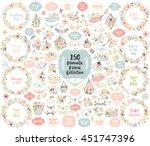 floral hand drawn vintage set.... | Shutterstock .eps vector #451747396
