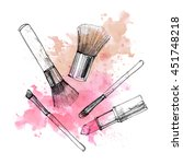 makeup brush with smear on... | Shutterstock . vector #451748218