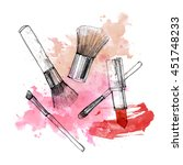 makeup brush with smear and... | Shutterstock . vector #451748233