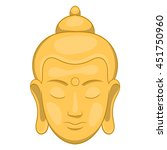 Head Of Buddha Icon In Cartoon...