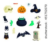 halloween icons in cartoon... | Shutterstock .eps vector #451752070