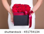 Close Up Of Box With Red Roses...