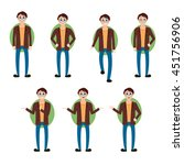 brunette man vector set... | Shutterstock .eps vector #451756906