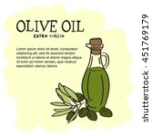 olive oil bottle with olive... | Shutterstock .eps vector #451769179