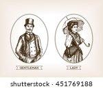 vintage lady and gentleman...   Shutterstock .eps vector #451769188
