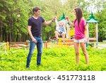 happy family having fun... | Shutterstock . vector #451773118