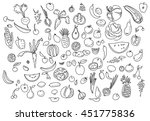hand drawn vegetables doodle... | Shutterstock .eps vector #451775836