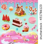 confectionery and desserts ... | Shutterstock .eps vector #451786123