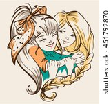 girl hugging girlfriend. two... | Shutterstock .eps vector #451792870