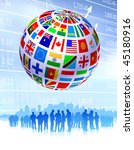 business team with flags globe... | Shutterstock .eps vector #45180916