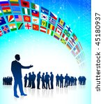 business team with flags banner ... | Shutterstock .eps vector #45180937