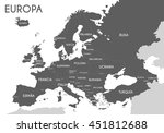 political map of europe in gray ... | Shutterstock .eps vector #451812688
