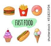 fast food. set of cartoon... | Shutterstock .eps vector #451821934