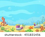 underwater world blue sea ... | Shutterstock . vector #451831456